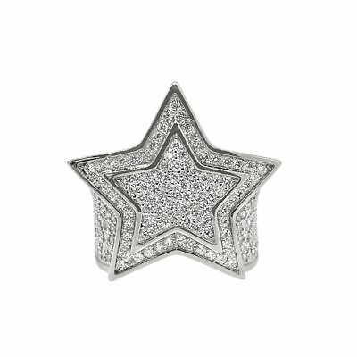 Sterling Silver Flooded Large Star Iced Out Mens Ring Sterling Silver Mens Star