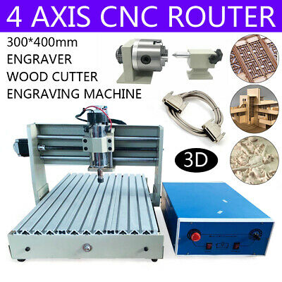4axis Cnc 3040t Router Engraver Woodworking Milling Carving Machine 220v 400w De