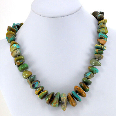 Natural Turquoise Nugget Beads Hand Knotted Sterling Silver Necklace 19.5