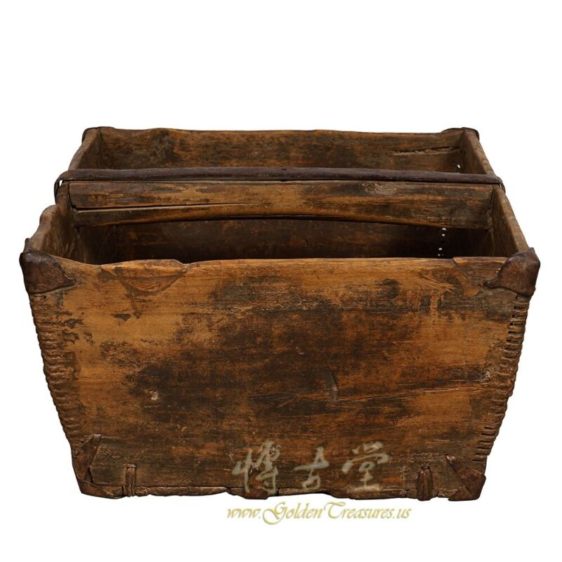 Antique Chinese Official Wooden Rice Grain Bucket