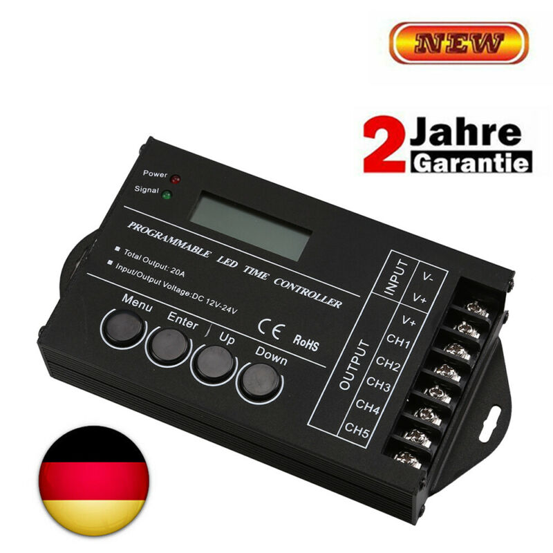 Programmierbarer LED RGB Controller Timer Dimme TC420 5-Kanal DC12V 24V 20A 240W