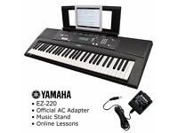 Yamaha EZ-220 Key Lighting Keyboard+official adapter, Keyboard Stand + Lessons