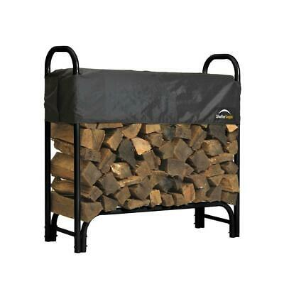 New Outdoor Log - Firewood Rack with Cover Fire Log Storage Outdoor Heavy Steel Holder 4 ft *NEW*