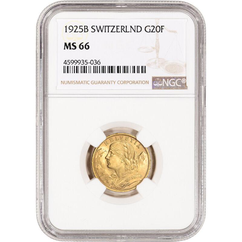 1925 B Switzerland Gold 20 Francs - NGC MS66
