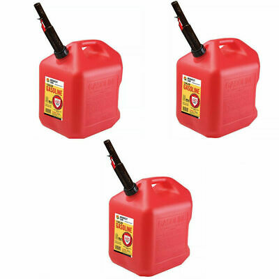 Gas Cans - 5 Gallon each, 3 Pack, Plastic Will Not Corrode or Rust, BRAND NEW