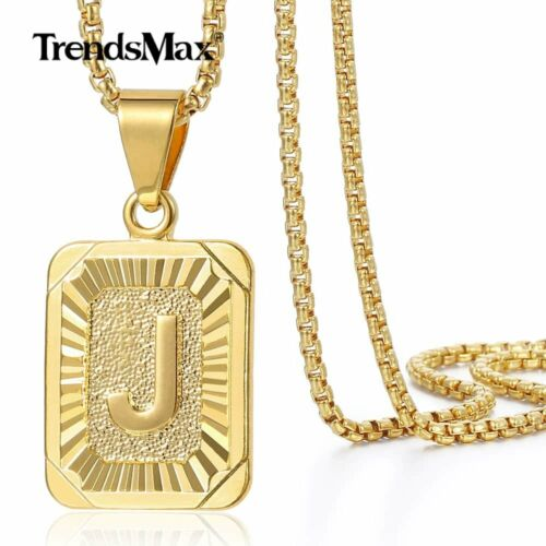 Jewellery - Womens Mens Gold Filled A-Z Initial Necklace Letter Pendant Box Chain Unisex