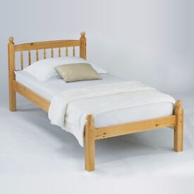 brand new 3ft single solid pine bed with memory foam mattress, no springs. Free delivery