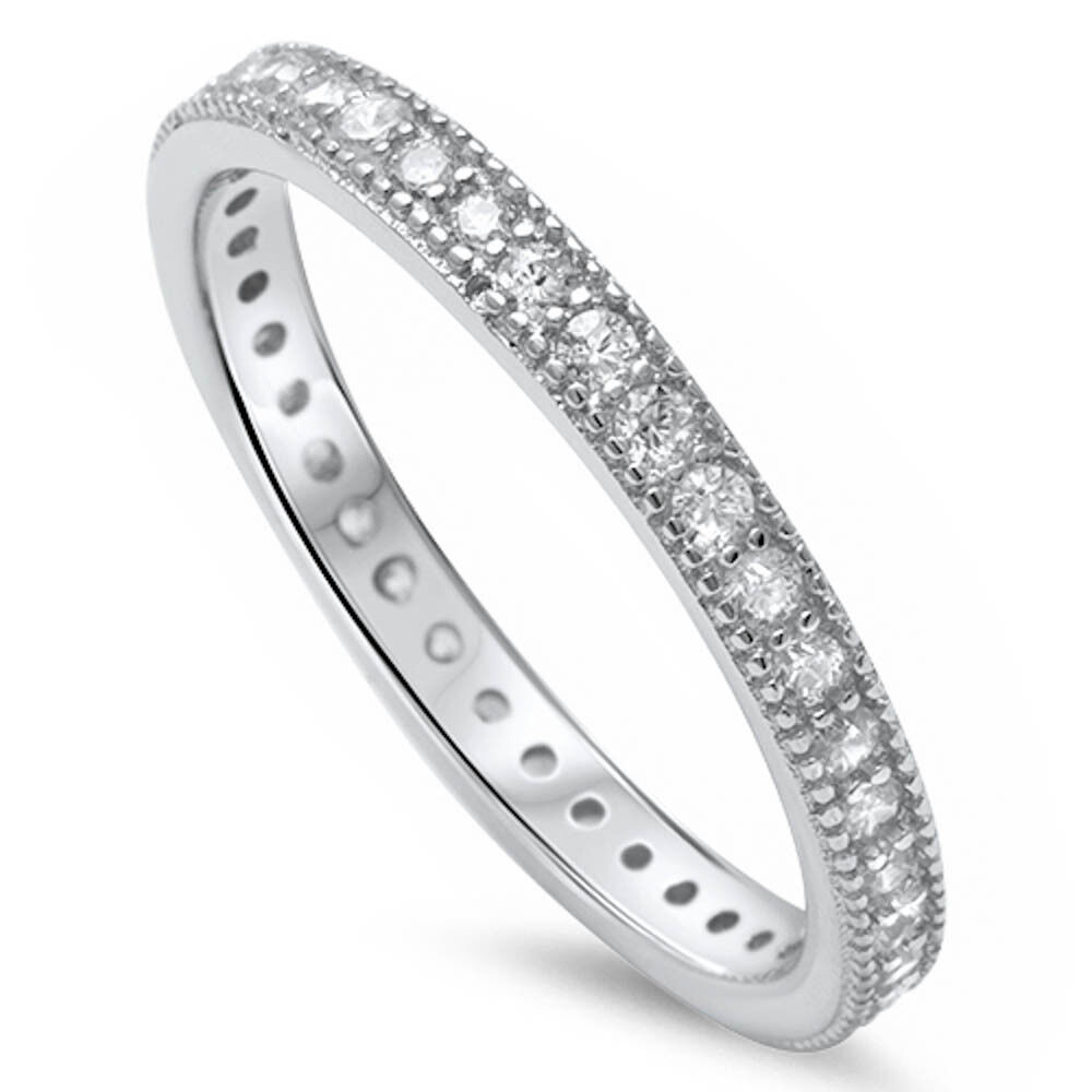 Pave Cz Eternity Style Band .925 Sterling Silver Ring Sizes