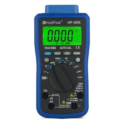 Automotive Multimeter Hp-90k Lcd Dmm Acdc Tester Tach Dwell Temp Rpm Test Usb P