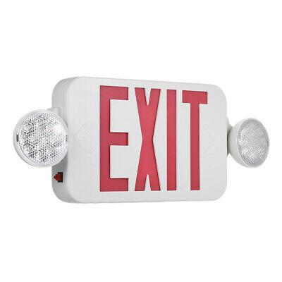 Red Exit Sign LED Emergency Light Combo Adjustable Backup Batterys Security S2X4