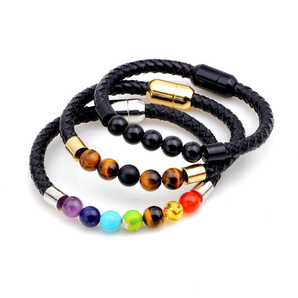 Magnetic Clasp Leather Bracelet for Men Women Diffuser Yoga