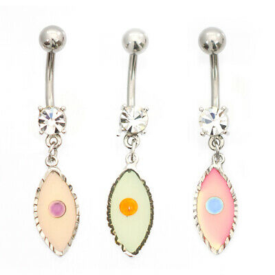 Belly Button Ring with Oval shape and Cubic Zirconia stone design 14g
