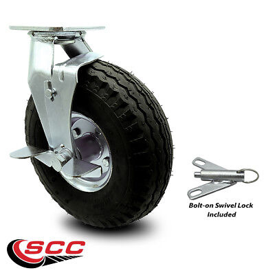 Scc 10 Black Pneumatic Wheel Swivel Caster Wbrake And Bolt On Swivel Lock