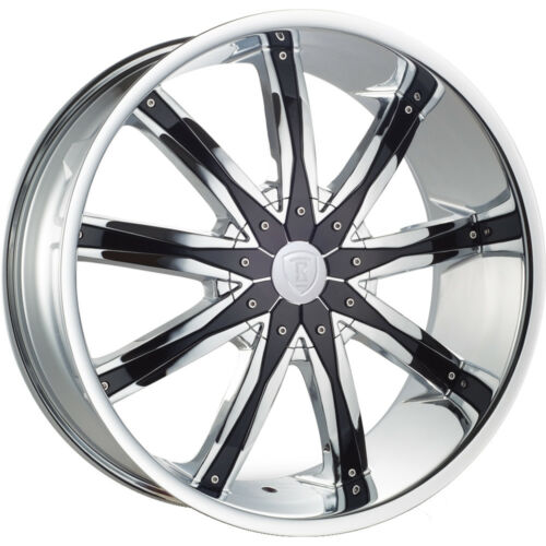20 Inch Borghini B9 Chrome With Black Inserts Face Wheels & Tires Fit 5 X 120