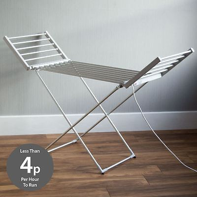 Portable Heated Winged Clothes Airer Folding Indoor Laundry Washing Dryer Horse
