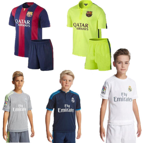 Football Soccer Club Jersey Short Sleeve Kids Boy 3-14 Yrs Sport Outfit +Socks