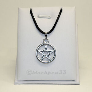 Halskette mit Anhänger Pentagramm Drudenfuß Pentagram Necklace Pendant silber