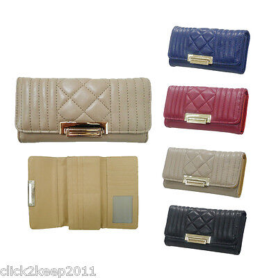 Ladies Designer Faux Leather Quilted Fold Clasp Long Purse Wallet