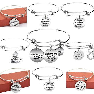 Stainless Steel Bangle Charm Bracelet Gifts For Sister,Teacher,Friend Women Men - Bracelets For Teachers