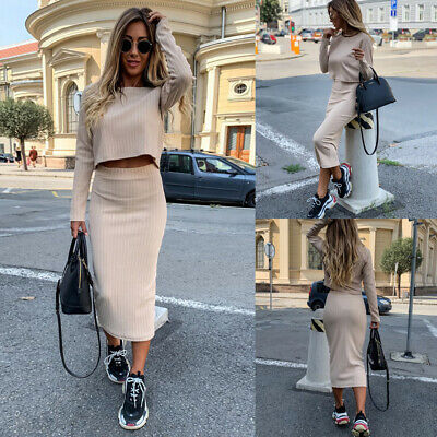 ✨2Pcs Women Solid Co-Ord Two Piece Tops Ladies Pencil Skirt Formal Dress Suit US Two Piece Skirt