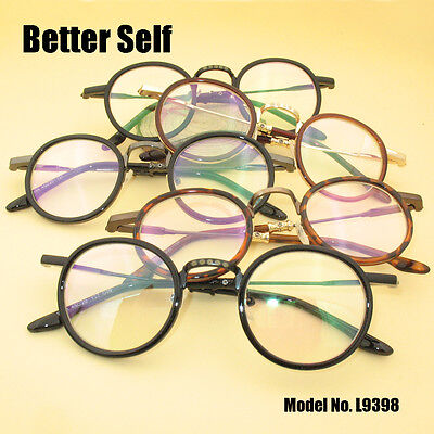 Acetate Temples Frame -  Acetate Temple Eyeglasses Designer Optical Glass Frame Retro Round Eyeglasses