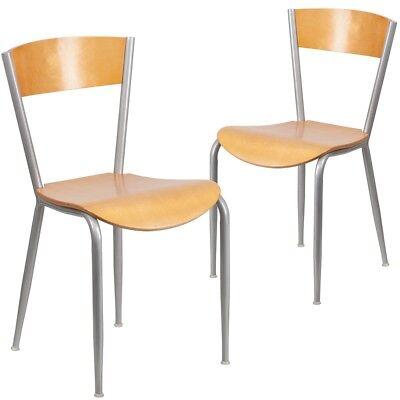 2 Pk. Invincible Series Metal Restaurant Chair - Natural Wood Back Seat