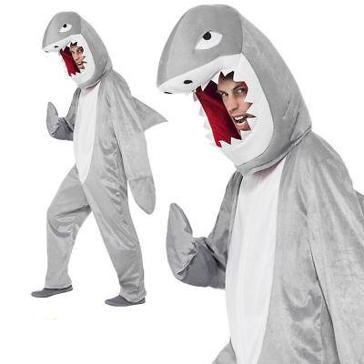 Erwachsene Shark Rachen Kostüm Grau Schicke Kleid Overall Einheitsgröße Outfit