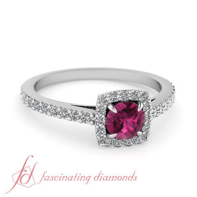 Pave Set Pink Diamonds - Pink Sapphire and Pave set Diamonds Cheap Halo Engagement Rings Solid White Gold