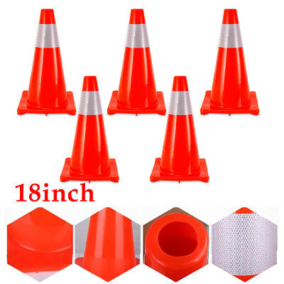 5-packset 18 Inch Safety Traffic Cone With Reflective Caution Strips Pvc Cones