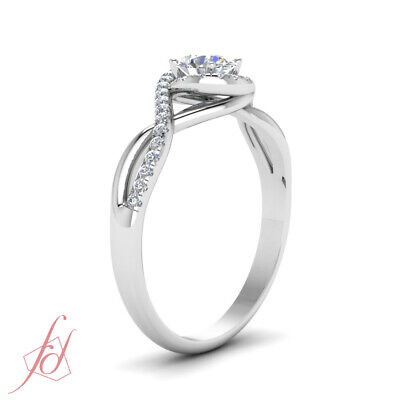One Carat Round Cut FLAWLESS Diamond Twisted Halo Engagement Ring In White Gold 2