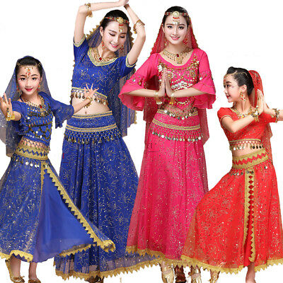 Kinder Frauen Bauchtanz Kostüm Kleid Bollywood Party Indischen Tanz Dance - Bollywood Kostüm Kinder