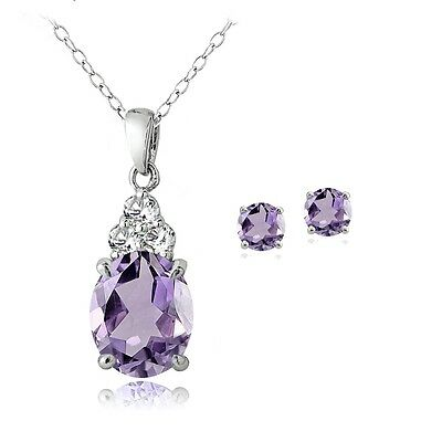 Sterling Silver 2.8ct Amethyst and White Topaz Oval Necklace & Earrings Set