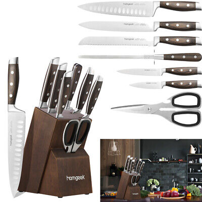 8 Quota have one's say Sharp Stainless Steel Kitchen Knife Sharpener with Oak Wooden Block Set