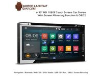 "6.95"" Android 4.4.4 KitKat Quad-Core Digital Multi-touch Screen Double Din Car DVD Player with OBD2"