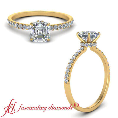 1.25 Carat Asscher Cut Diamond Petite Band Yellow Gold Hidden Halo Wedding Ring