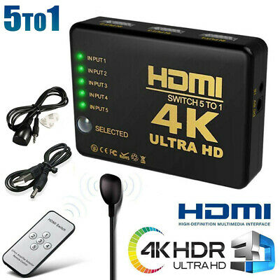 4K HDMI Splitter Switch 5 in 1 Adapter Umschalter HDCP 3D HDR IR Fernbedienung