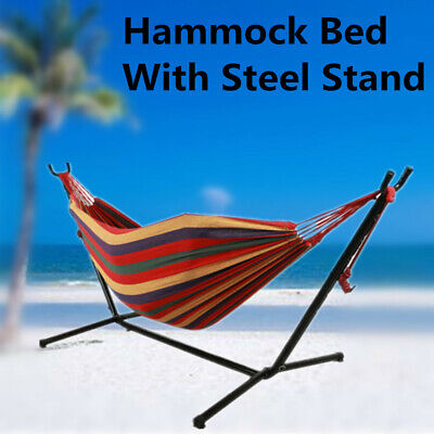 Outdoor Garden Hammock Bed With Steel Heavy Duty Stand Frame Swinging Travel NEW