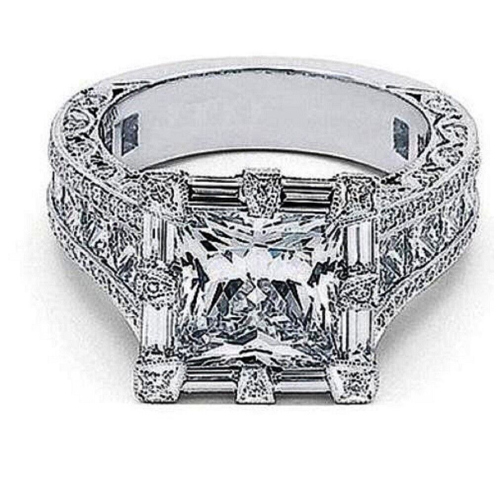 GIA Certified Diamond Engagement Ring 5.41 Carat Princess Cut 18k White Gold