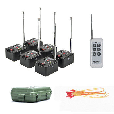 6 Cue Remote Wireless Fireworks Firing System Four Fire Modes+case+6 pcs e-match