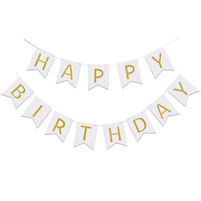 Happy Birthday Banner Decor Letter Hanging Photo HBD Paper Card Board White Gold