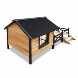 Extra Large Dog Kennel Pet House W/ Patio Wooden Timber Bed Por