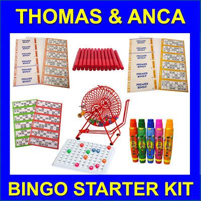 Bingo Starter Kit with Professional Cage, Bingo Tickets & Bingo Dabbers