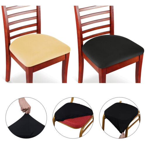4-piece Stretchy Dining Chair Seat Cover for Kitchen Oblong Chair Gray