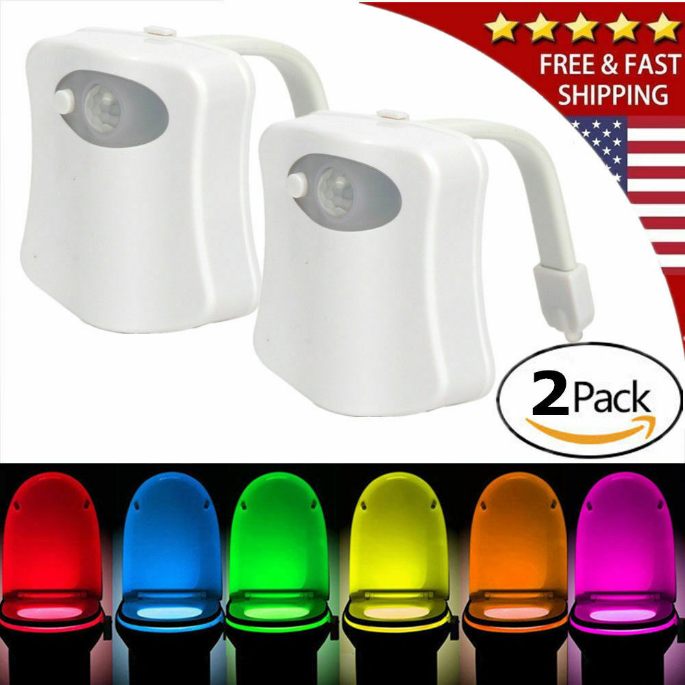 2-Toilet Night Light Motion Activated 8-Color LED Sensor Bowl Seat Glow Lamp Home & Garden