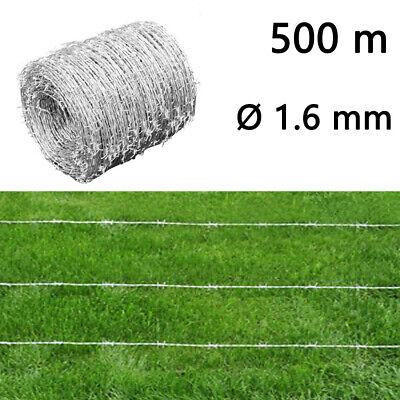vidaXL 500M Barbed Wire Roll High Tensile Heavy Duty Wire Width Garden Fence UK
