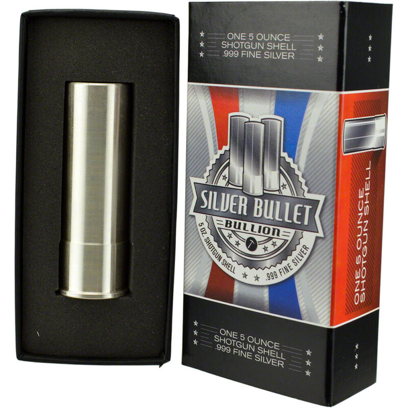 5 oz Silver Bullet Shotgun Shell 12 Gauge - .999 Fine in Gift Box