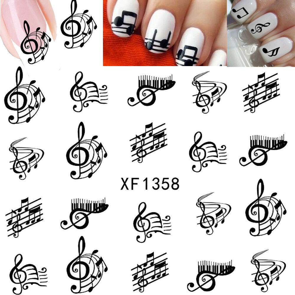 1 Sheet Letter Nail Art Water Decals Manicure Transfer Stickers Musical Notation