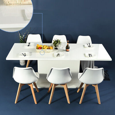 White High Gloss 6-8 Seaters Adjustable Length Extendable Dining Meeting Table