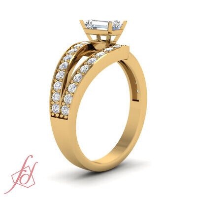 1.25 Ct Emerald Cut Bypass Diamond Wedding Rings For Women In Yellow Gold GIA 2