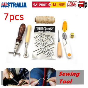 7pcs Leather Craft Hand Stitching Sewing Tool Kit Thread Awl Waxed Thimb Needlle